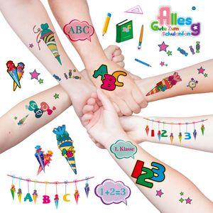 Oblique Unique Kinder Tattoo Set Schuleinführung Einschulung temporäre Tattoos ABC 123 uvm.