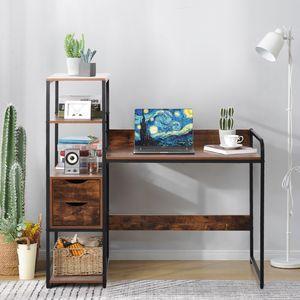 Merax Schreibtisch mit Bücherregal Schubladen Bürotisch Laptoptisch PC Tisch Holzoptik kombiniert mit Schwarz Metallrahme für Home Office Büro, Vintage Braun