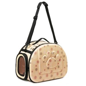 pet atmungsaktive Schulterbeutel-Hand Raum Katze Hunderucksack faltbar -(Beige,S)