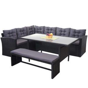 Poly-Rattan-Garnitur HWC-A29, Gartengarnitur Sitzgruppe Lounge-Esstisch-Set, schwarz  Kissen dunkelgrau, mit Bank