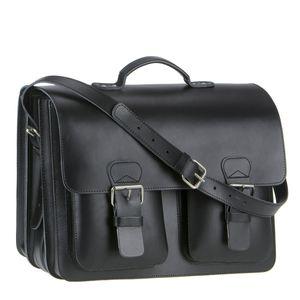 Ruitertassen Lehrertasche Leder XXL Damen Herren Schultasche Aktentasche Büchertasche 3 Fächer schwarz