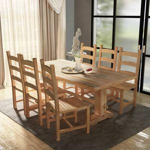 7-tlg. Essgruppe Tisch mit Stühlen Massivholz Teak