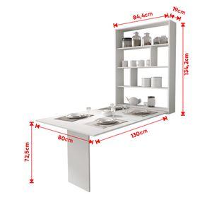 Selsey Esstisch ESPIGO - Wandtisch klappbar mit Regal - Weiß - Tischplatte rechteckig 130 x 80 cm