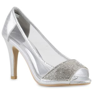 Mytrendshoe Damen Glitzer Pumps Strass High Heels Party Stiletto Allyear 817531, Farbe: Silber, Größe: 36