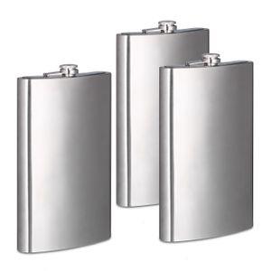 relaxdays 3x Flachmann XXL Riesen Flachmann 1800 ml aus Edelstahl 64 oz Taschenflasche