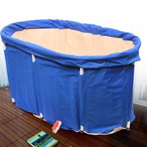 110 * 63 cm Tragbar Faltbar Blaue Faltbadewanne Badewanne Folding Wannenbad Fass Erwachsenen Wanne Mit Wärmedämmung und rutschfestem Beinrahmen (Badewanne, Badabdeckung, 5 Badetaschen, Aufbewahrungsbeutel)