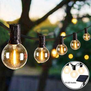 LED Solar Lichterkette 10 Wasserdicht Glühbirne für Weihnachten Garten Party