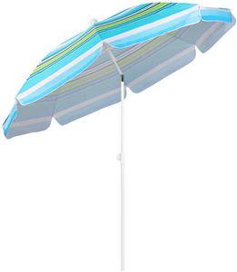 Strand sonnenschirm | Sonnenschirm balkon | Sonnenschirme 200 cm, UV 25 +, Blaugrüne Streifen