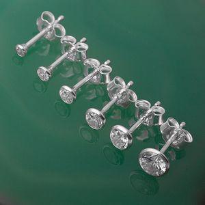 Solitär Ohrstecker Silber 925 Ohrringe mit Zirkonia, Durchmesser:2 mm