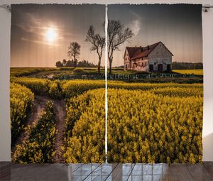 ABAKUHAUS Landhaus Rustikaler Gardine, Altes Landhaus, Schlafzimmer Kräuselband Vorhang mit Schlaufen und Haken, 280 x 260 cm, Mehrfarbig