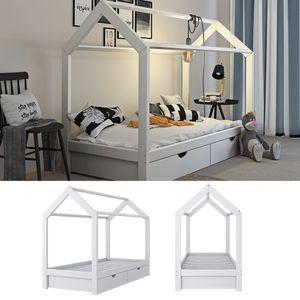 VitaliSpa Kinderbett Hausbett weiß 90x200 cm Schubladen Bett Holz Kinderhaus