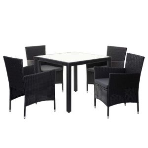 Poly-Rattan Garnitur HWC-F50, Balkon-/Garten-/Lounge-Set Sitzgruppe, 4xSessel+Tisch anthrazit, Kissen dunkelgrau