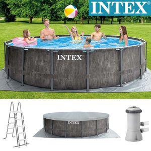 Intex Prism Frame Pool   457 x 122 cm   Holzoptik   Pumpe Leiter Plane   26742GN