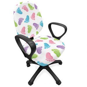 ABAKUHAUS Baby Bürostuhl Schonbezug, Kinder Foot Muster, dekorative Schutzhülle aus Stretchgewebe, Mehrfarbig