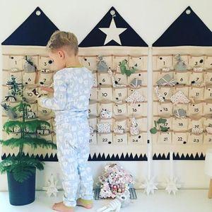 Adventskalender zum befüllen Weihnachten Kalender befüllbar,24 Taschen Stoff Weihnachtskalender zum Aufhängen Weihnachtlichen Ornamente (Schwarz)