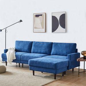 Ecksofa moderne  L-Form 3-Siter Stoffsofa mit Hocker Blau Stoffbezug Holzbeinen freistehend Ottomane Breite 266cm