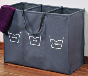 Kesper Wäschesortierer - Wäschekorb mit 3 Fächern inkl. Aufdruck für Sortierung nach Farbe oder Waschtemperatur - faltbar und mit Tragegriffen; 89170