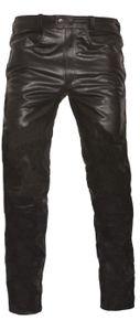 Lederhose lederjeans bikerjeans aus Büffelleder glasiert glazed Glacéleder Dunkelbraun, Größe:54/XL