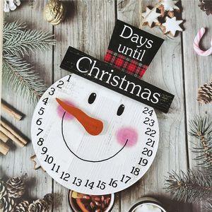 Holz Weihnachten Countdown Adventskalender, 24 Tage Countdown-Kalender Weihnachtsschmuck Hängende Wanddekorationen (Schneemann)