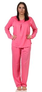 Damen Pyjama lang zweiteiliger Schlafanzug, Pink M