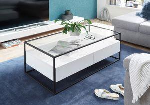 Couchtisch Evora in weiß Metallgestell schwarz Wohnzimmer Tisch modern mit 2x Schublade als Sofatisch 120 x 60 cm