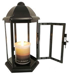 Grablaterne Stahlblech schwarz sechseckig 24 cm inkl. LED Licht
