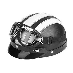 JET-HELM MOTORRAD HELM ROLLER HELM Leder Halbschalenhelm UV-Brille Leder Weiß