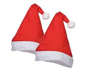 2x Weihnachtsmütze Nikolausmütze Santa Claus mit Plüsch