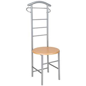 tectake Herrendiener mit Sitzfläche - silber