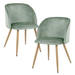 IPOTIUS 2er Set Vintager Retro Stuhl Polstersessel Samt Lounge Sessel Clubsessel Fernsehsessel Grün