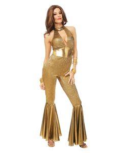 Goldenes 70er Jahre Disco Diva Kostüm für Fasching & Mottoparty Größe: M