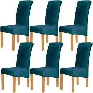 6 Stück XL Velvet Stretch Esszimmerstuhl Hussen - Elasthan Plüsch Stuhlhussen Solide Großes Esszimmer Stuhl Protector Home Décor