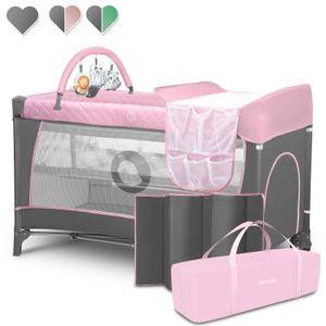 Lionelo Flower Reisebett Baby Laufstall Baby mit Seiteneingang Wickeltisch zwei Matratzenaufhängungshöhen Spielzeugbogen mit Spielfiguren Rollen Tragetasche