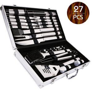 27 teiliges BBQ Grill Set aus Edelstahl Zange Zubehör Grillbesteck Steak Messer Gabel inkl. Alu Koffer zur Aufbewahrung