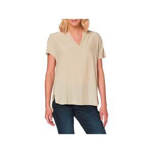 Herrlicher Luzi Blusen-Shirt leichte Damen Sommer-Bluse mit Split-Neck Beige, Größe:M