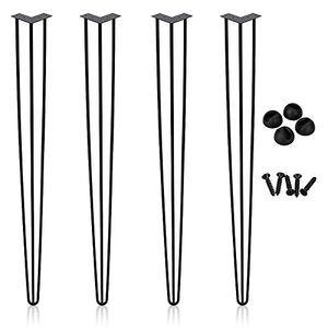 karpal 4x Hairpin Legs Tischbeine Tischgestell Metalltischbeine Haarnadelbeine Moebelfuesse Tischkufen Haarnadelbeine schwarz 28inch(72cm) 3 Stangen, fuer Schreibtisch,Esstisch