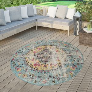 Moderner Outdoor Teppich Wetterfest für Innen & Außenbereich Boho Style In Multifarben, Größe:Ø 160 cm Rund