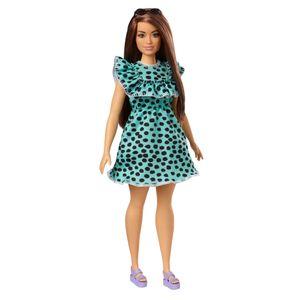 Barbie Fashionistas Puppe (brünett) mit Punktekleid