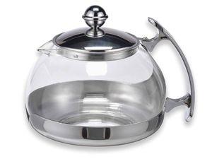 Edelstahl Teekanne Glas Teekocher Tee Bereiter Glaskanne Teesieb & Deckel 1,2L