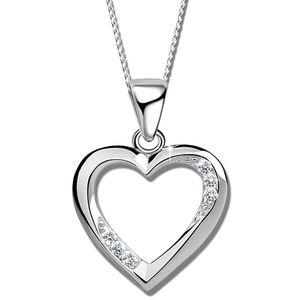 Damen Kette  50cm Herz Kette echt 925 Sterling Silber Halskette mit Anhänger Herzanhänger K609+Org