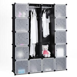 Kleiderschrank mit 2 Stangen und 12 Fächern 178 x 143 x 36 cm Garderobenschrank Steckregalsystem schwarz LPC30H SONGMICS