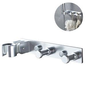 Universal Duschbrause Duschkopf Halterung mit Haken, Aluminium Brausehalter Verstellbar Selbstklebend Duschkopfhalterung Shower Head Holder Duschhalterung