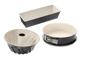 Dr. Oetker 3er Backformen-Set BACK-TREND: Springform, Gugelhupfform und Kastenform, Kuchenformen aus Stahl mit keramisch verstärkter Antihaft-Beschichtung (Farbe: creme/anthrazit), Menge: 1 x 3er Set