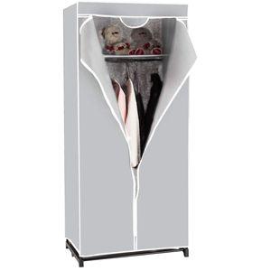 COSTWAY Kleiderschrank Stoffschrank Textilschrank Garderobenschrank Faltschrank Waescheschrank Campingschrank mit Kleiderstange 75x50x170cm grau