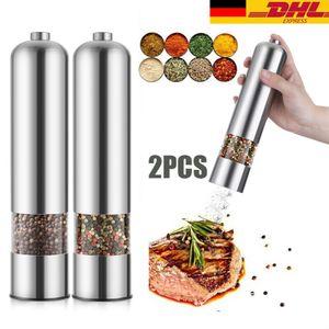 2 Stück Set Elektrische Salz- und Pfeffermühle mit Keramik Mahlwerk LED Licht Edelstahl Gewürzmühle