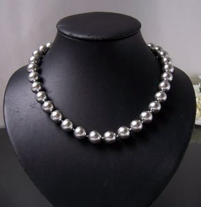 Perlenkette Kette MK- Perlen silbergrau Magnetverschluß Collier K2310