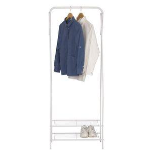 WOLTU Kleiderständer Garderobenständer Kleiderstange Schuhregal Metall mit 2 Metallablagen für Schuhe, Weiß,  SR0074ws