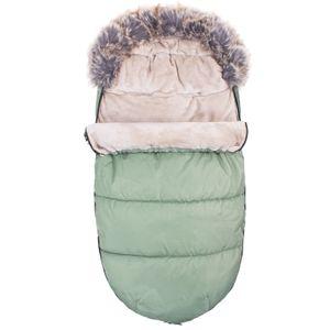 Fußsack Weich 90cm Winterfußsack Kinderwagen- Babyschale Babyfußsack Zip - Grün