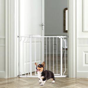 GOPLUS Treppengitter Erweiterbar von 74 bis 98 cm, Türschutzgitter ohne Bohren, Absperrgitter Einhandbedienung, Selbst Schließend, Beidseitig Schwenkbar, aus Stahl und ABS, Weiß