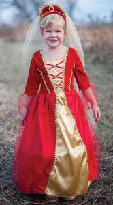 Königinnenkleid, rot - Kinderkostüm Grösse L